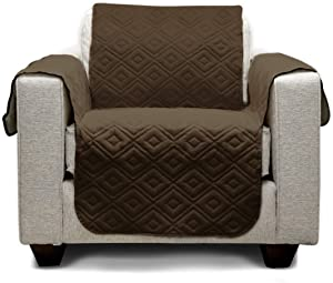 """Mary Maxim Furniture Covers - Quilted Couch Slipcover and Furniture Protector for Dogs, Cats, Pets, & Kids - Side Pockets, Elastic Strap & Water Resistant (23"""" Chair/Recliner, Dark Brown & Beige)"""