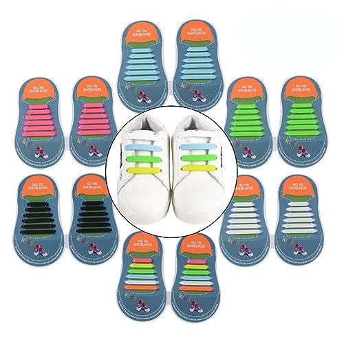 Yuccer Cordones Zapatillas Elasticos, Paquete de 6 Cordones de Goma de los Niños de Silicona Resistente al Agua: Amazon.es: Zapatos y complementos