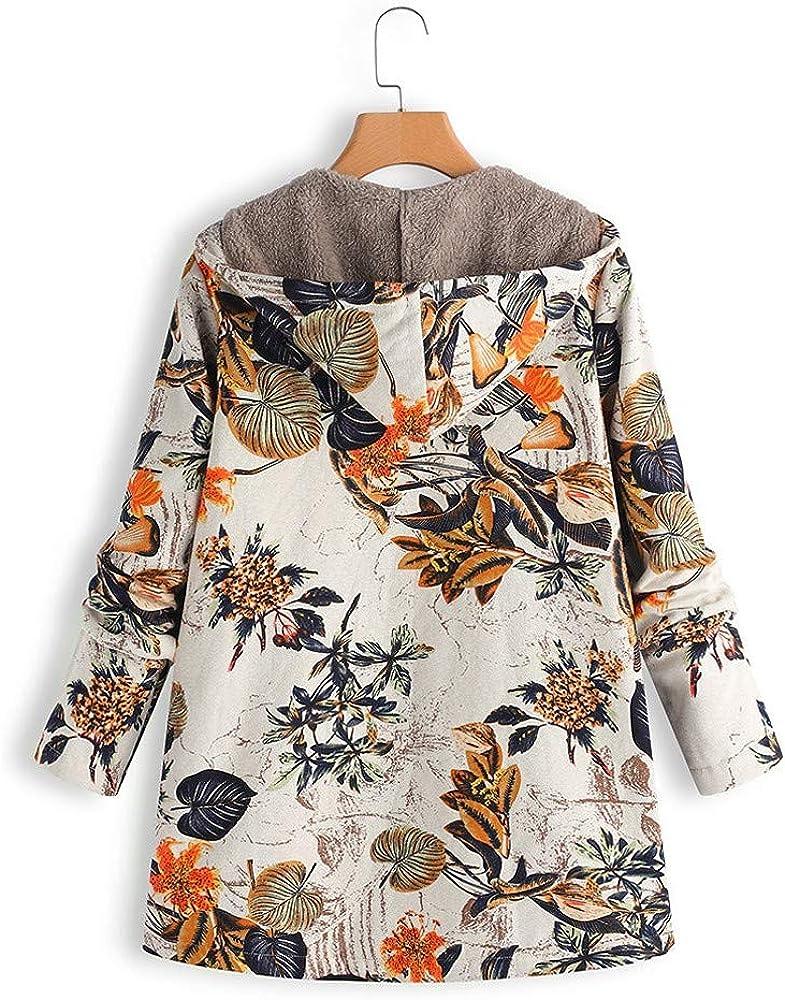 Winter Plus Size Hoodie Sweatshirt Warm Wool Liner Outwear Zipper Pocket AMOUSTORE Womens Coat