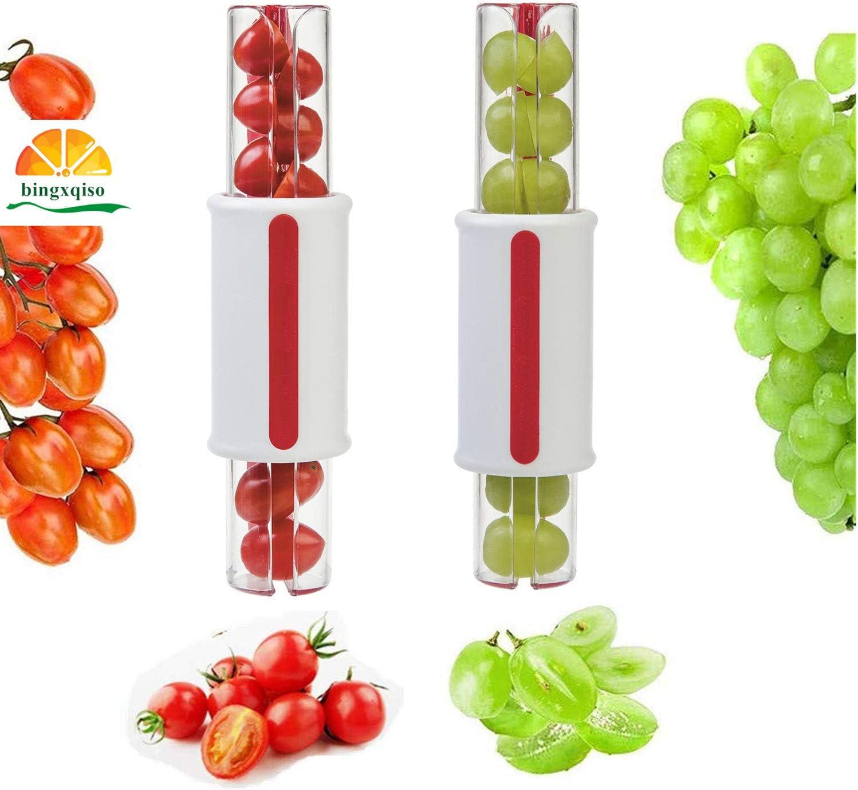 bingxqiso Tomato Slicer Grape Slicer Fruit Vegetable Salad Slicer Cherry Slice 1 pcs Random Color