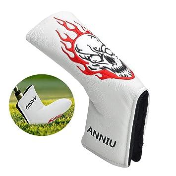Lychee Blade Funda Putter de Golf,Diseño del cráneo,Cuero de ...