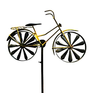 WHW Whole House Worlds Americana Yellow Bike Garden Spinner, Vintage Style Stake Decoration, Rustic Yellow with Antiqued Finish, 4 Feet 3 Inches Tall (130 cm)