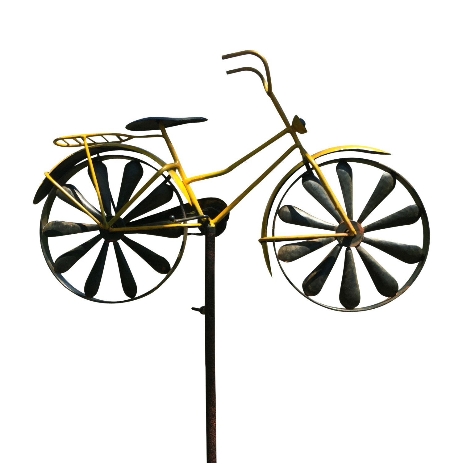 Whole House Worlds The Americana Yellow Bike Garden Spinner, Vintage Style Stake Decoration, Rustic Yellow With Antiqued Finish, 4 Feet 3 Inches Tall (130cm) By