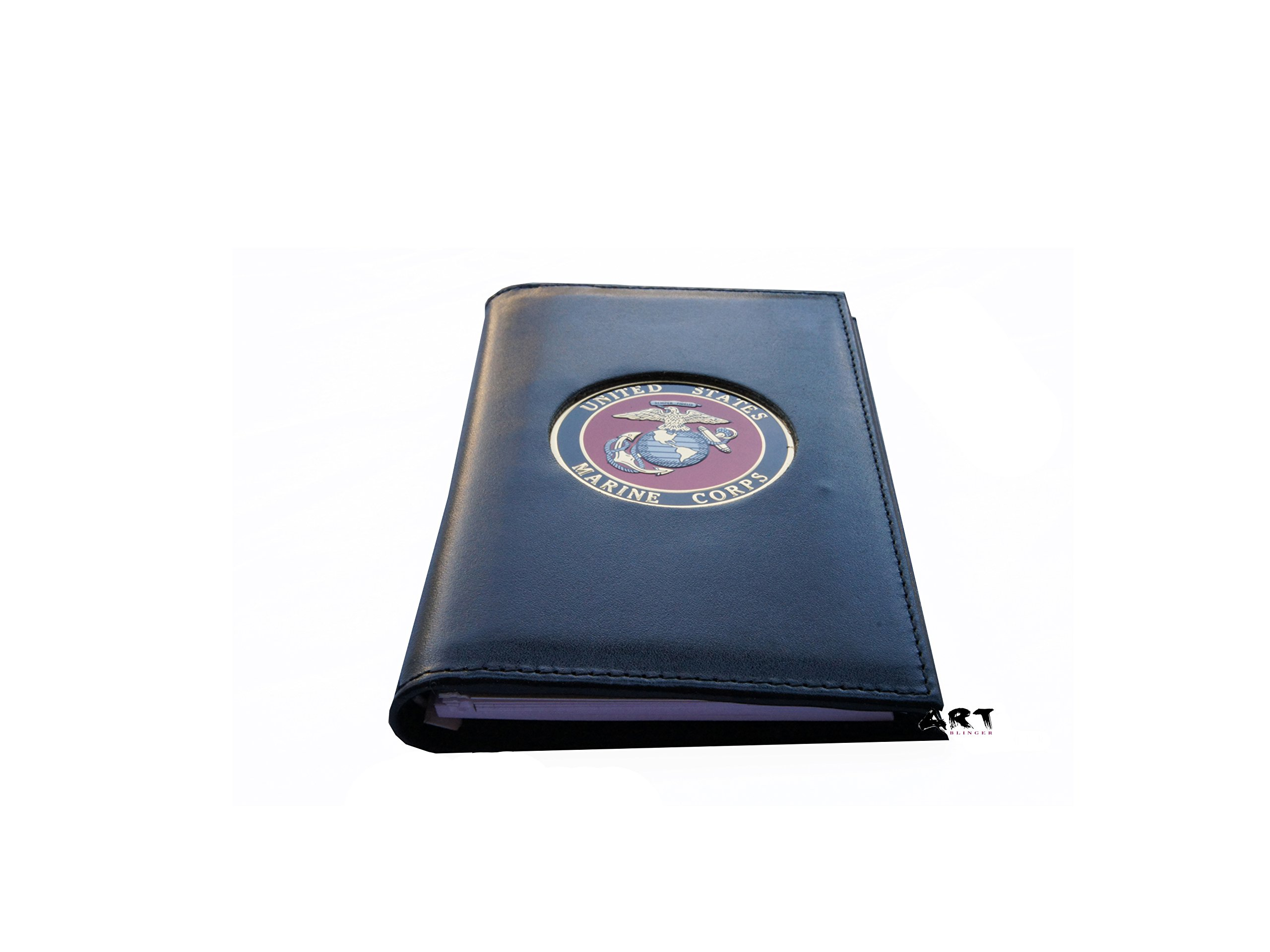 Military Sprial Notebook Cover, US MARINE CORPS Padfolio with Medallion - 3 x 5 by Officially Licensed Authorized Military Wallets