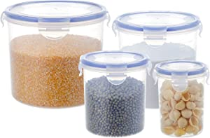 [4 Pack] Cylindrical Cereal Food Storage Containers Leak-proof Flour Canister Airtight Food Containers with Mixed Size,67.6oz/42.3oz/23.7oz/11oz