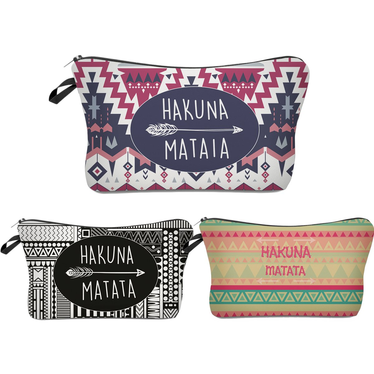 Roomy Cosmetic Bag,3 piece Set Deanfun Waterproof Travel Toiletry Pouch Makeup with Zipper (Hakuna Matata) by Deanfun (Image #1)