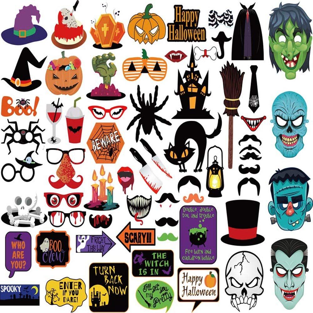 Richboom 66pcs Halloween Party Photo Booth Props Skull Witch Hat Pumpkin Bat Halloween Party Decor Supply