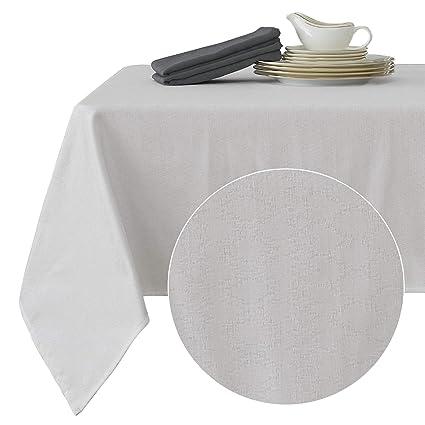 Deconovo Nappe de Table Rectangulaire Blanc Exterieur Imperméable Jacquard  Motif Geometrique Moderne Design Decoration Maison Jardin 137x274cm