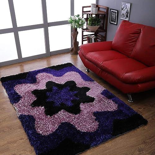 Rugsotic Carpets Hand Tufted Shag Polyester 5'x8' Area Rug Floral Blue K00040