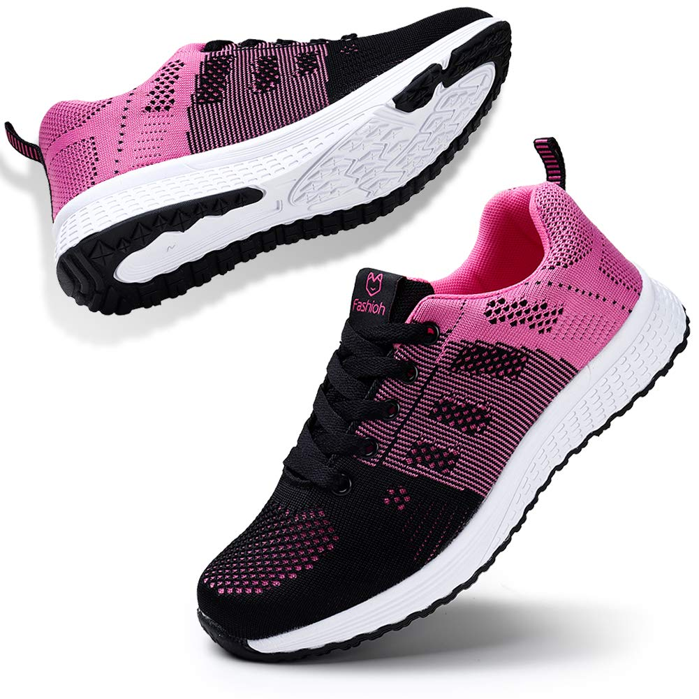 STQ Women Walking Shoes Breathable lace up Comfortable Gym Trainers Sneakers(A08hong35) Black Rose