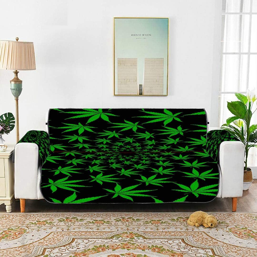 WDDHOME Hojas de Marihuana Verde Patrón de Vector Funda de Cannabis Sofá reclinable Sofá Funda de Tiro Sofá Cojines de Asiento 66