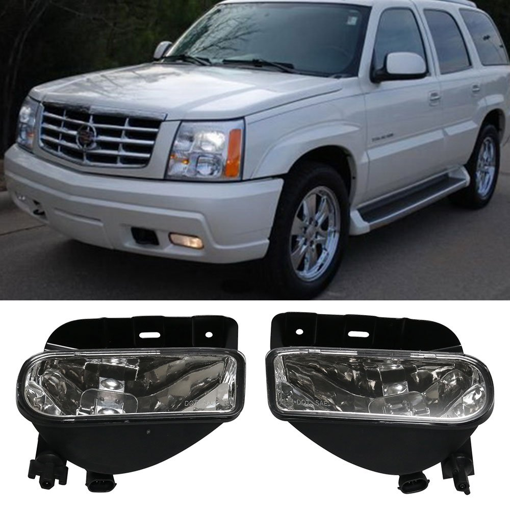 Lights Fit For 2002-2006 Cadillac Escalade | OE Front FogLight Fog Lamp Clear Lens Pair by IKON MOTORSPORTS | 2003 2004 2005