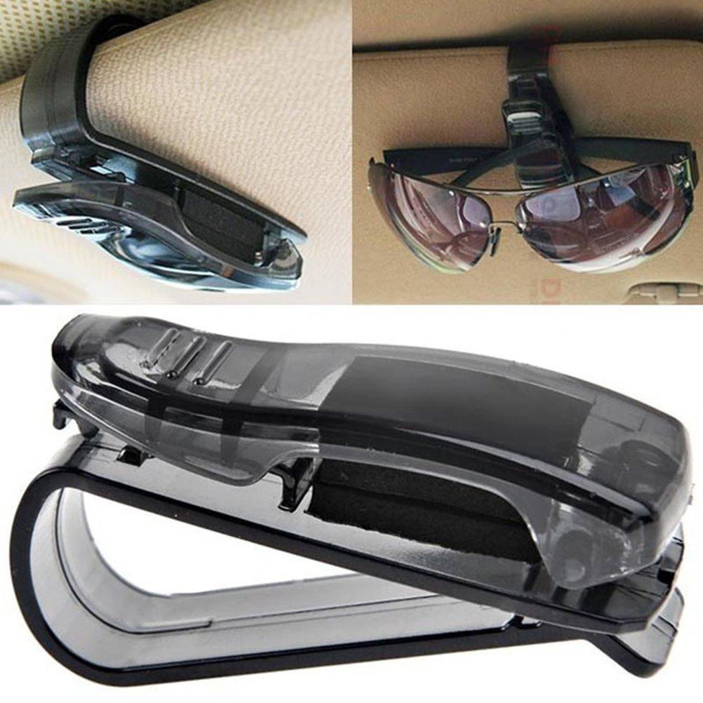 EROSPA® Sonnen-Brillen-Ablage Sonnenblenden-Klemm-Halterung 2in1 Clip für Tickets Visitenkarten Notizen Brillen-Aufbewahrung für KFZ PKW LKW Bus Auto Boot Caravan