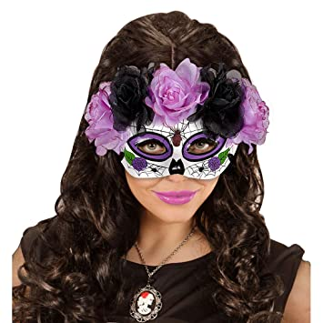 Máscara Sugar Skull Careta La Catrina con rosas negro y violeta Mascarilla Halloween Máscara mexicana de