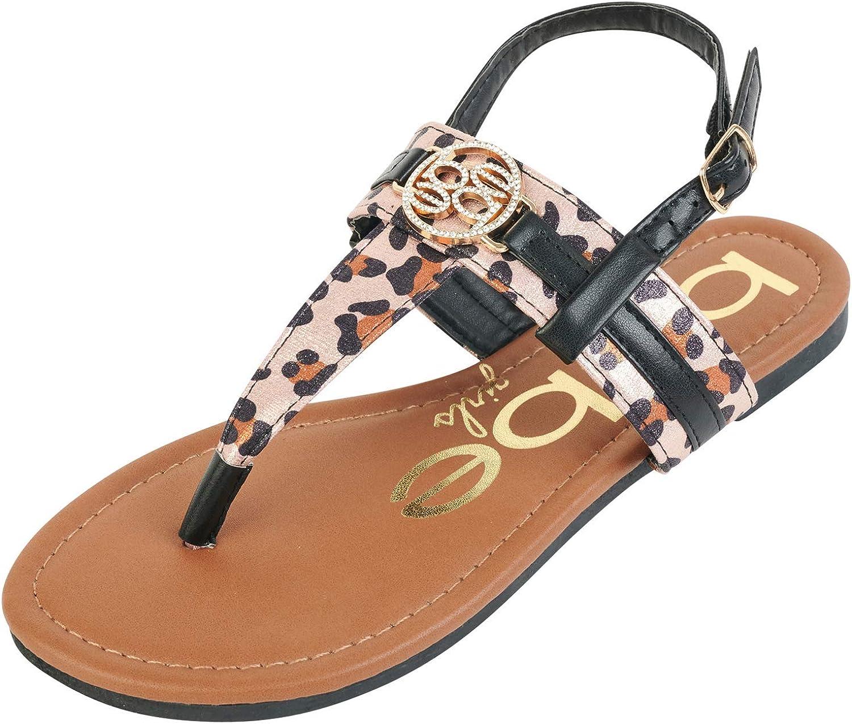 bebe Girls Leopard Thong Sandals