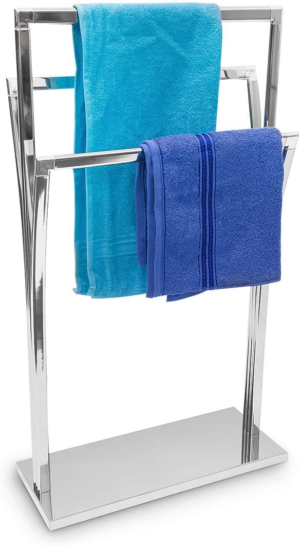 Relaxdays Towel Rack Curved H x W x D: 86x 50x 20cm Free Standing Towel Rail Small Clothes Butler in Stainless Steel Finish Bath Towel Holder with 3Rails–Silver