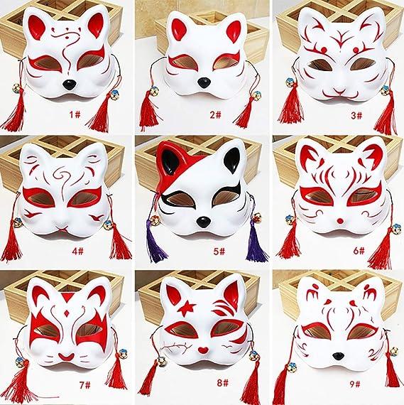 FYPmj máscara Máscara de Zorro Pintado Estilo japonés y Viento Demonio Gato Dos yuanes Hombres y Mujeres Anime Bola de Disparador automático Mascara Facial ...