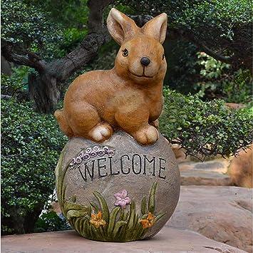 Figura Decorativa para jardín Erizo Conejo Figurita Tarjeta De Bienvenida Resina A Prueba De Agua Césped Paisaje Piedra Decoración Regalo - (A B) A:29 * 29 * 51cm: Amazon.es: Bricolaje y herramientas