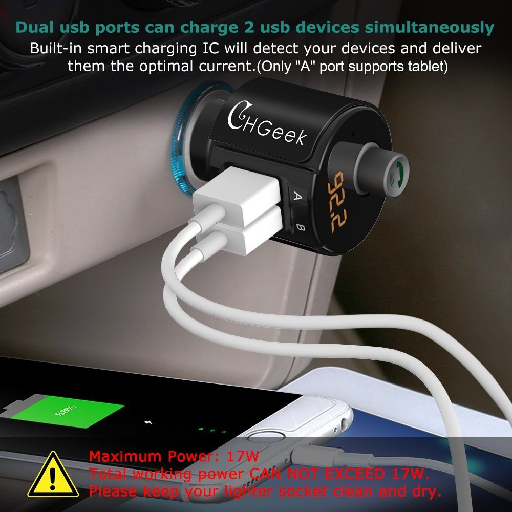 Bluetooth FM Transmitter, CHGeek Wireless In-Car Radio Adapter Hands-free Call Car Kit MP3 Player 3.4A Dual USB Car Charger with Display for iPhone X 8 7 iPad iPod Samsung Android Black by CHGeek (Image #6)