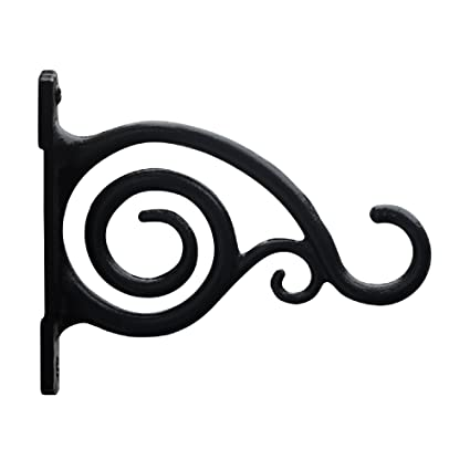 GrayBunny GB 6836A Fancy Curved Hook, Black, Cast Iron Wall Hooks For Bird