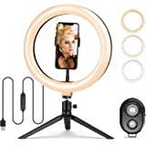 10.2' Selfie Ring Light with Tripod Stand and Cell Phone Holder, 3000K-6500K Dimmable Led Camera Ring Light with…