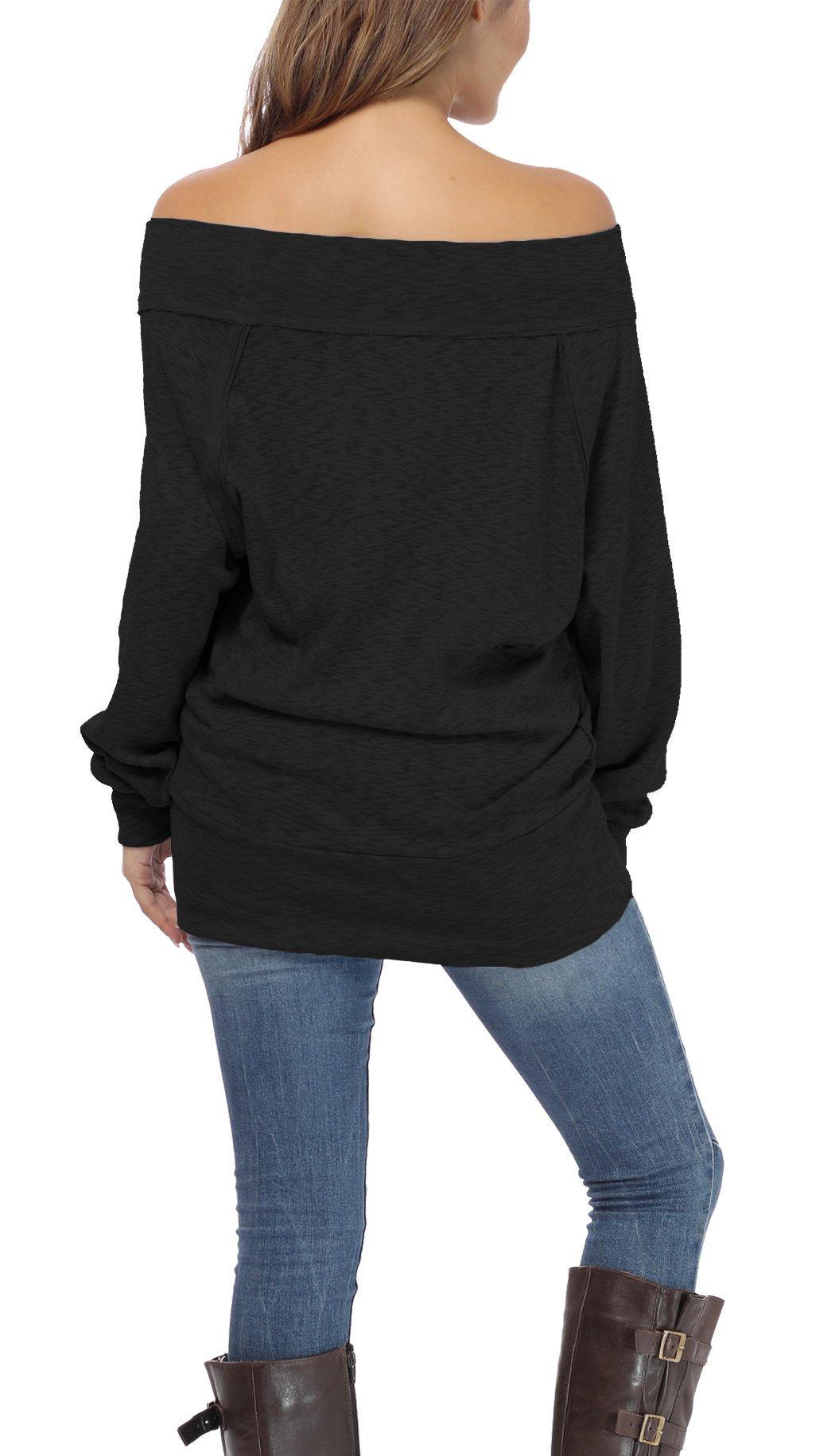 iGENJUN Women's Dolman Sleeve Off The Shoulder Sweater Shirt Tops,Black,M by iGENJUN (Image #4)