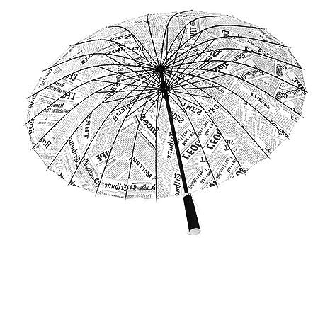 Guoke Mango Largo De Periódicos, De Tallo Recto Paraguas Creativo Del Hombre Exterior Soleado Queen