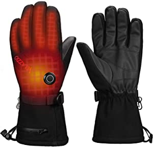 VELAZZIO [Upgrade] Thermo1 Battery Heated Gloves - 3 Heating Levels w/Intelligent Control, up to 8hrs Warmth, 3M Thinsulate Waterproof Breathable Winter Gloves, Touchscreen Ski Gloves Men & Women