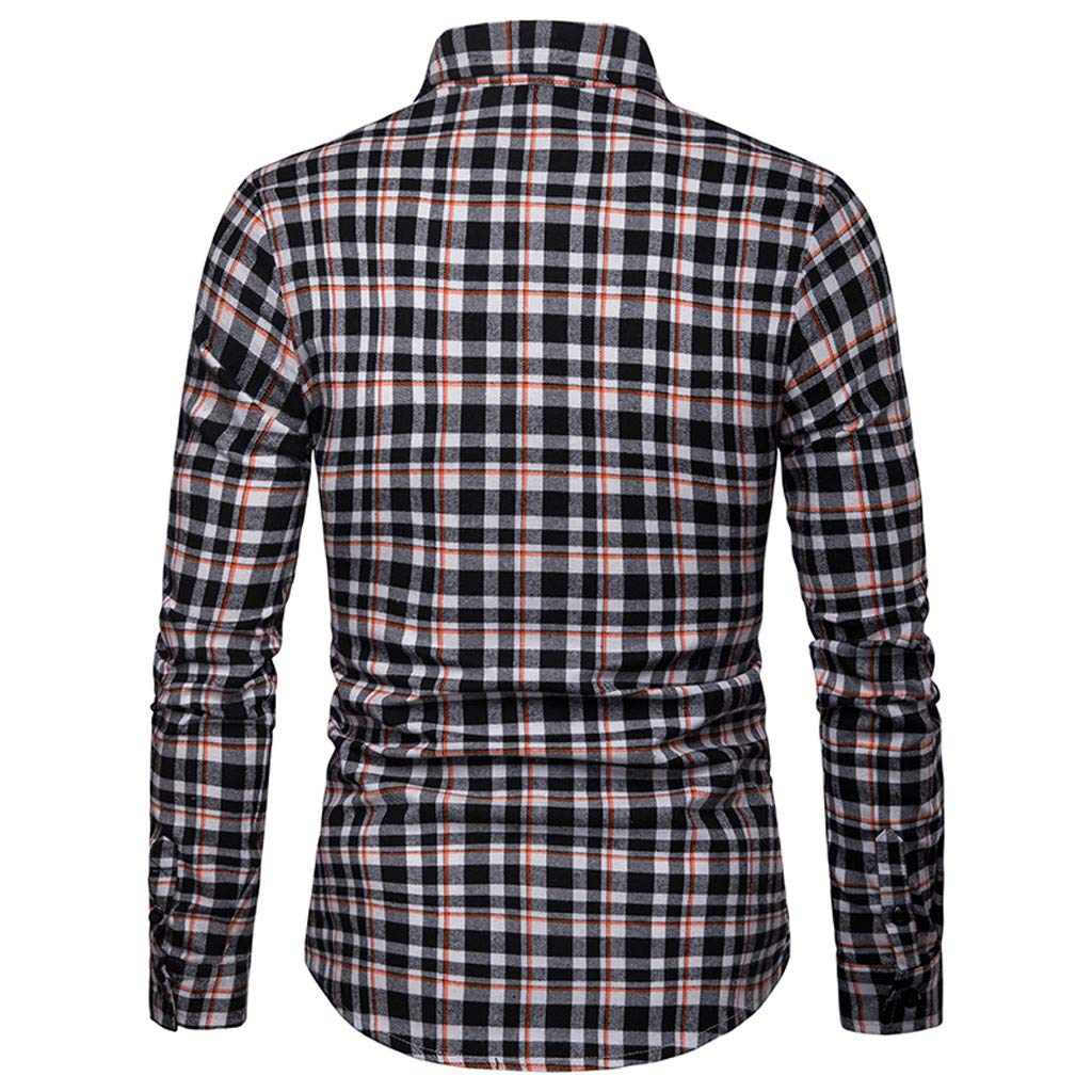 Mens Slim Fit Long Sleeve Plaid Shirt Button Up Business Shirt Casual Top STORTO