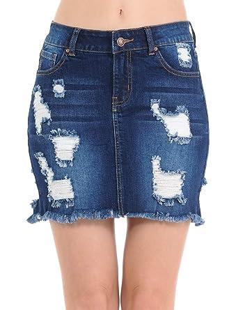 99c41ea416 Wax Women's Juniors Casual Distressed A-Line Denim Short Skirt, Dark, ...