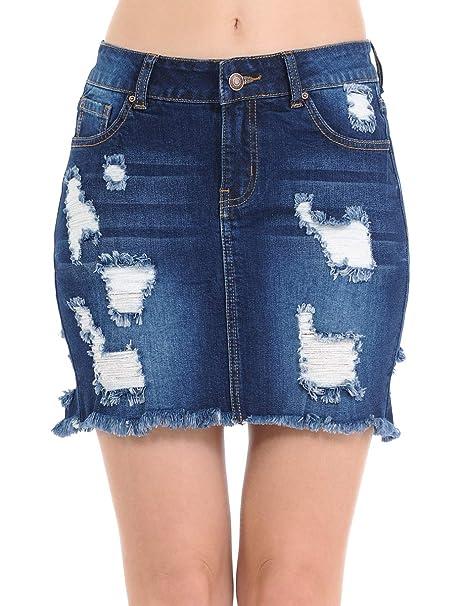 6895c7b58b07 Wax Women's Juniors Casual Distressed A-Line Denim Short Skirt, Dark, ...