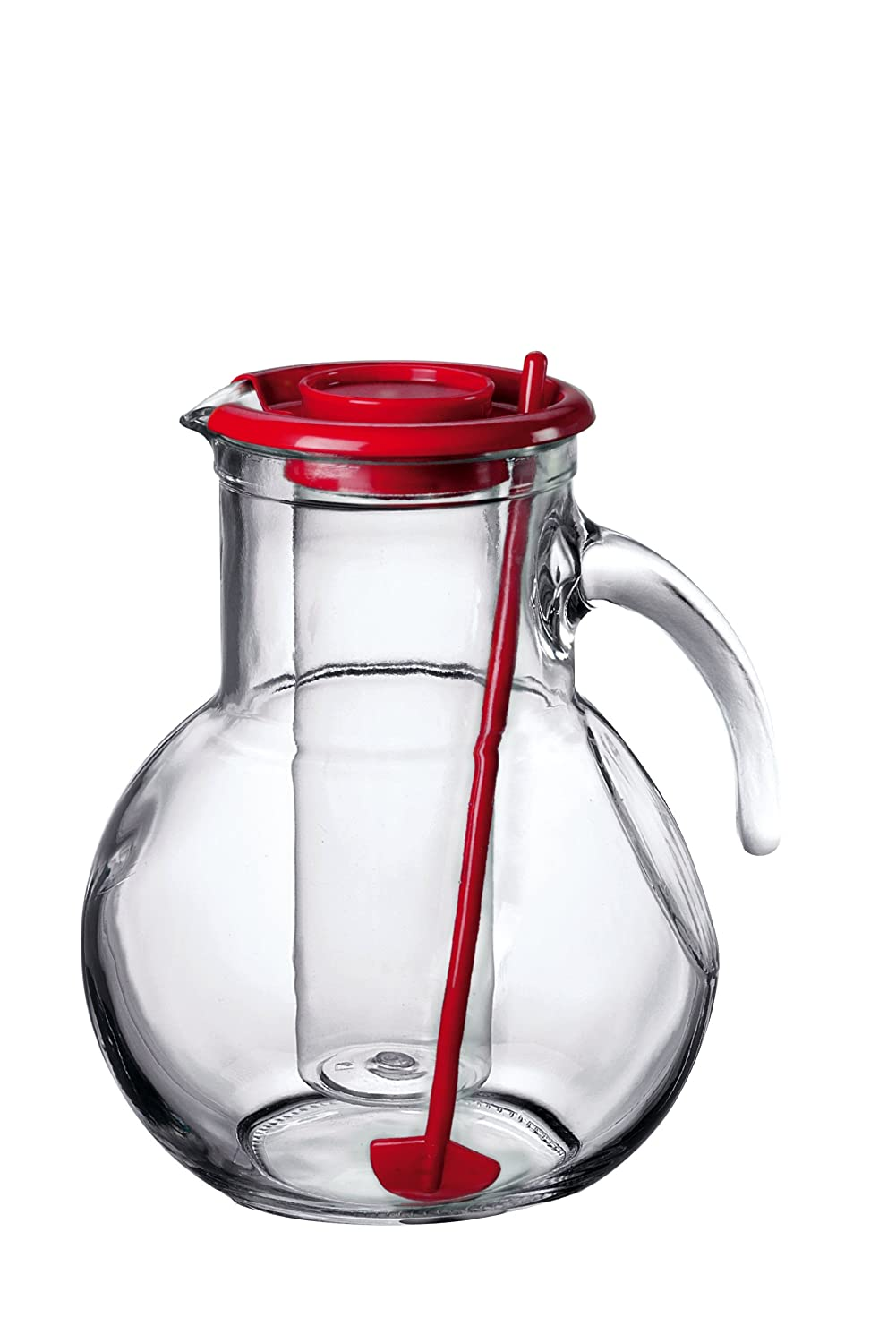 Red Lid 72 3//4 Ounce Bormioli Rocco Glass Co Inc 135729MR1321990 Bormioli Rocco Kufra Jug with Ice Container