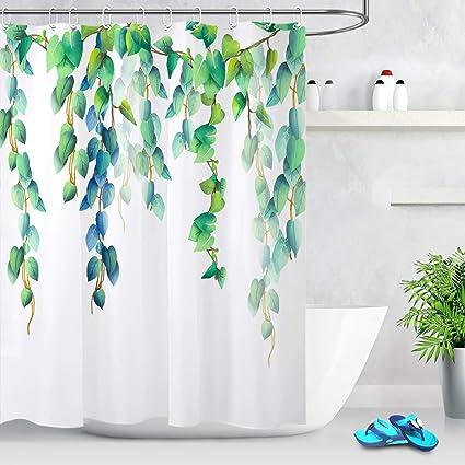 LB Fresh Design Leaf Shower CurtainBlue Green Leaves Floral Decorative Curtains For Bathroom