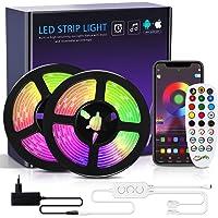 Riwnni Dreamcolor ledstrip, 10 m, RGB ledstrip met ingebouwde IC, Bluetooth ledstrips, bestuurbaar via app…