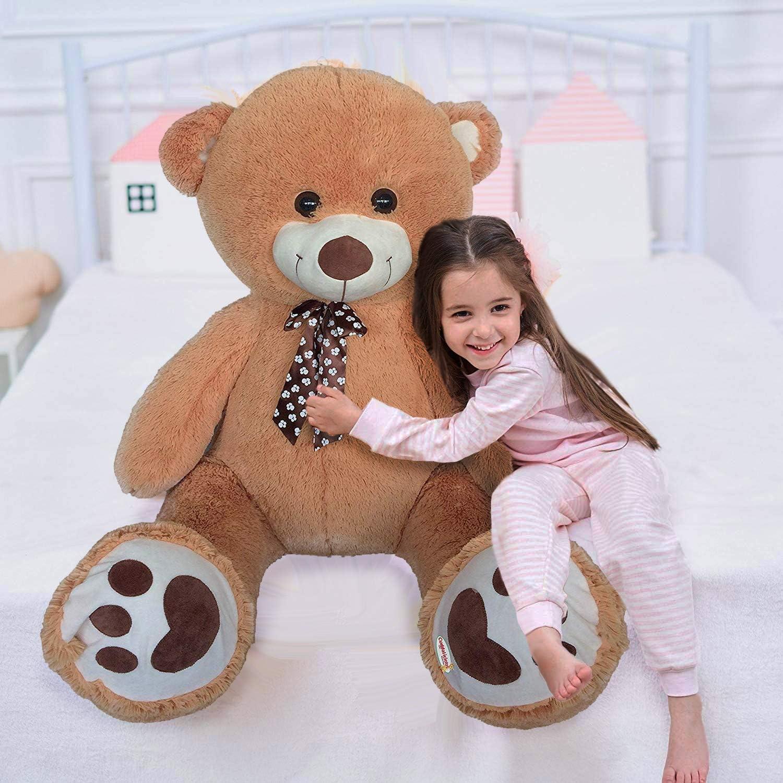 CUDDALICIOUS Animal Plush Bear 60 Inch Giant Lifelike Soft Inflatable Bear Buddies Toy 5 Feet Tall