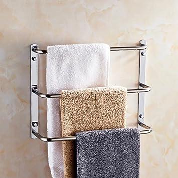 YYF Handtuchhalter Edelstahl Bad Drei Handtuchhalter Badezimmer Badezimmer  Handtuchhalter Balkon Handtuch Bar ( Größe : 35cm