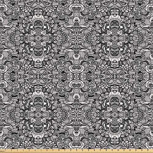 Symmetrical Tattoo - Ambesonne Abstract Fabric by The Yard, Abstract Composition Floral and Geometric Elements Symmetrical Tattoo Design, Microfiber Fabric for Arts and Crafts Textiles & Decor, 2 Yards, Beige Black