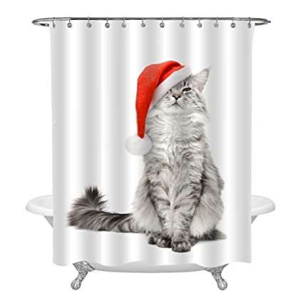 MitoVilla Christmas Cat Wearing A Red Santa Hat Shower Curtain Set With Hooks For Stall
