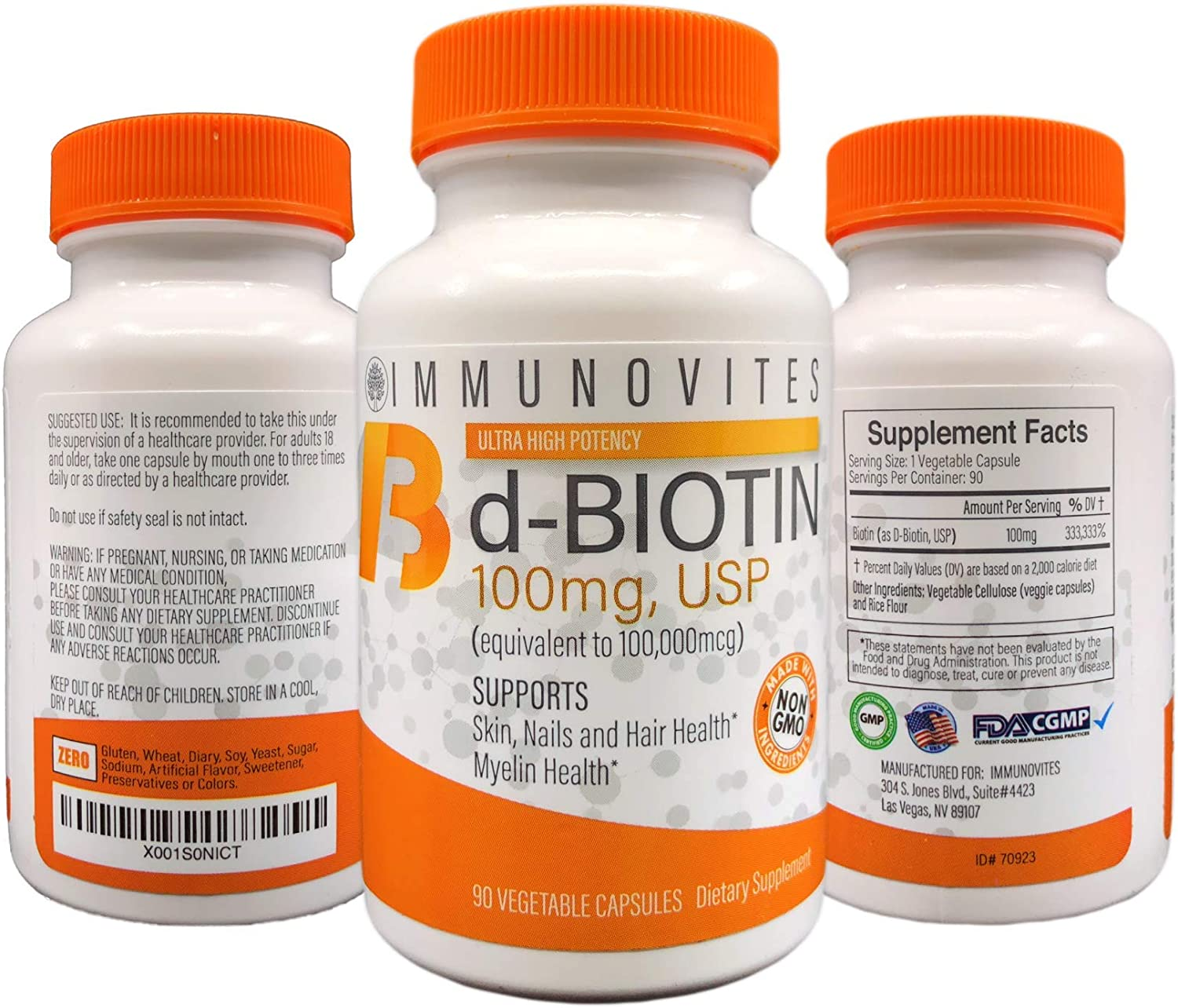 3-Pack High Dose Biotin as d-Biotin, USP 100mg Equivalent to 100,000mcg 90 Capsules, High Potency 3
