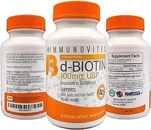 3-Pack High Dose Biotin (as d-Biotin, USP) 100mg (Equivalent to 100,000mcg) 90 Capsules, High Potency (3)