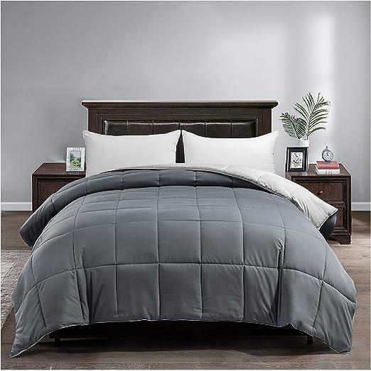 Satisomnia Lightweight Bed Comforter Queen Gray Summer Comforter Down Alternative Reversible Comforters All Season Quilted Microfiber Duvet Insert Full Queen Size Dark Gray / Light Grey 90x90 Inch