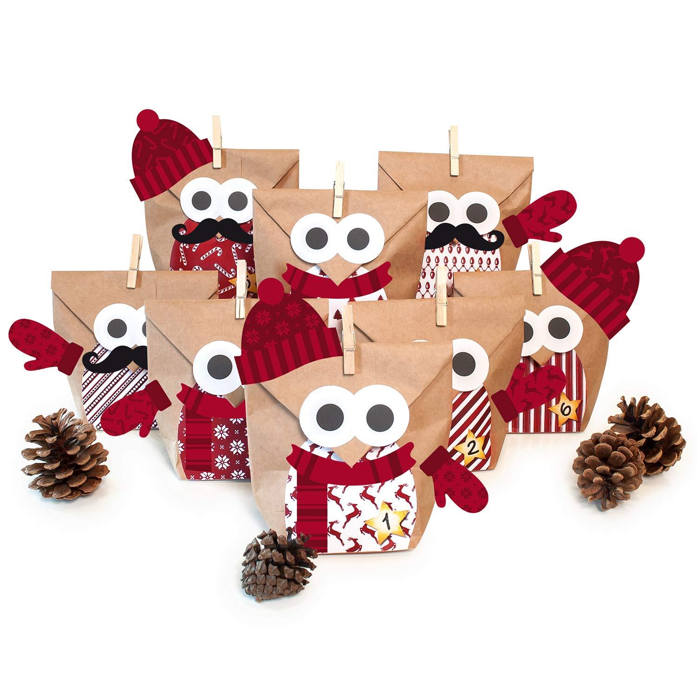Pajoma DIY Adventskalender Bastelset Christmas Owl red mit Extras, 24 Kraftpapiertüten zum Basteln & Befüllen, kein Schneiden notwendig, Weihnachten 50291