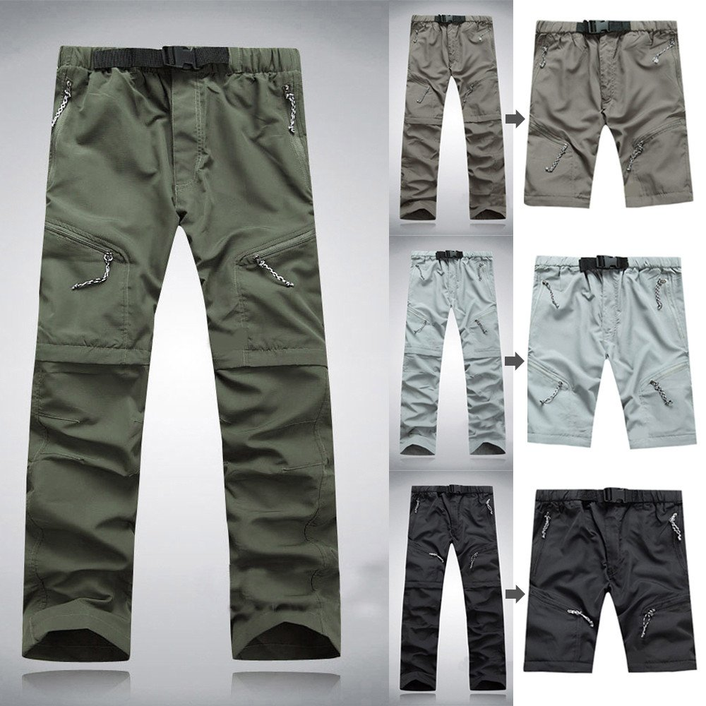 Mumustar Mens Sports Trousers Detachable Capri Long Pants Quick Dry Outdoor Hiking Climbing Waterproof Trousers Sportswear Tracksuit Bottoms
