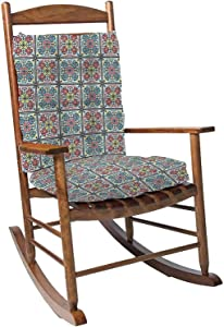 Rocking Chair Cushion Pad Set with Ties Talavera Pattern Indian Patchwork Azulejos Portugal Turkish Overstuffed Thickened Patio Chair Cushions Indoor Outdoor Furniture Seating 2 Pieces