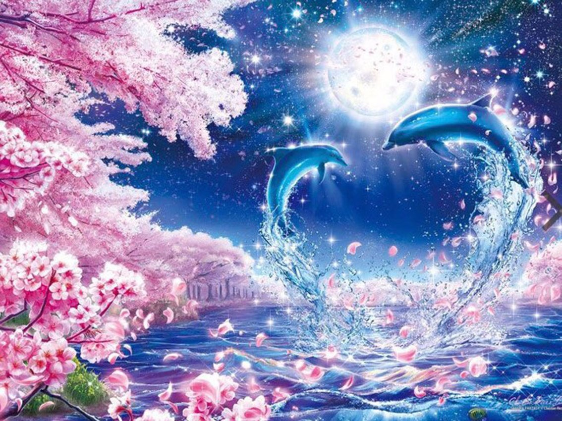 5D Diamond Painting, WDHome - DIY Cross Stitch Crafts, Wall Stickers for Home Wall Decor, Full Drill - Peach Dolphin 15.7*11.8 Inch (40*30 CM) weiding