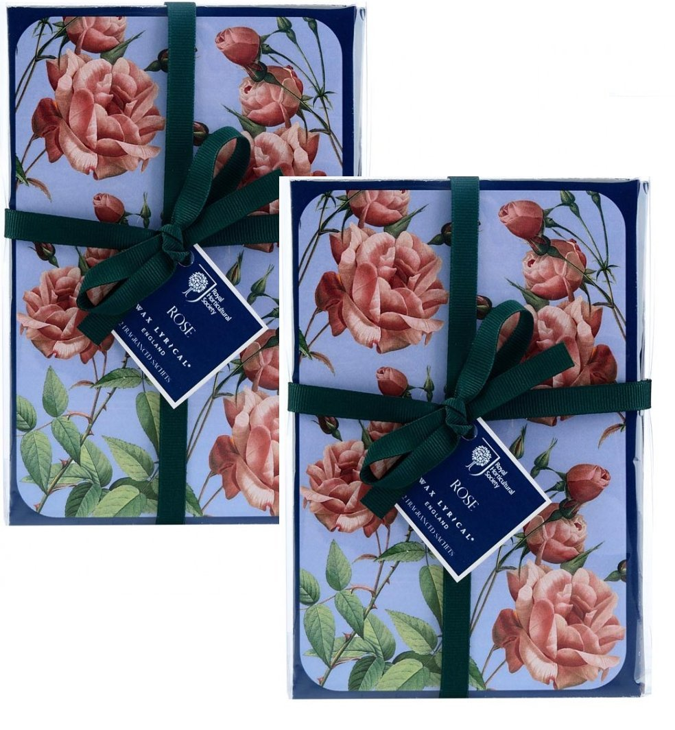 Pack of 4, 2 Sets of 2 ROSE Scented Sachets, Wax Lyrical Royal Horticultural Society Garden