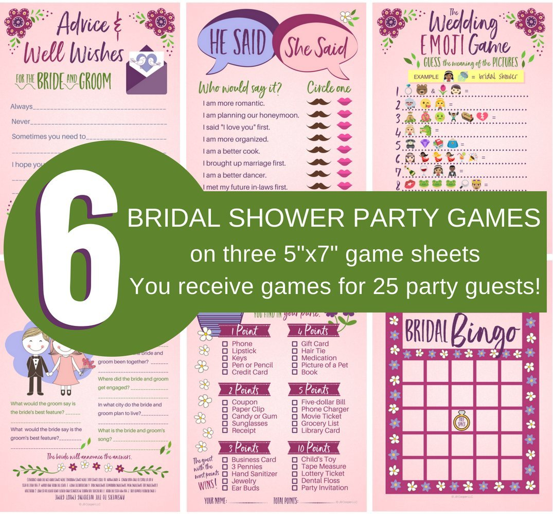 amazoncom 6 bridal shower games bridal advice wishes bridal bingo how well do you know the bride and groom wedding emoji game he said she said