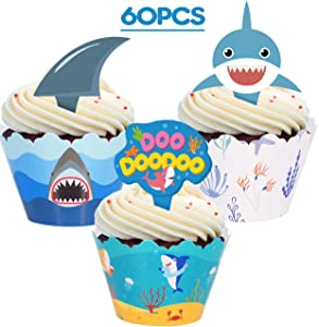 Shark Fin Cupcake Toppers Wrappers– Kid's Birthday Baby Shower Party Supplies Cake Decorations