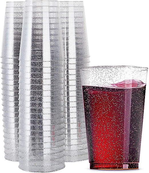50//60Pcs 9oz 12oz Wine Glass Hard Plastic Disposable Juice Cocktail Party Cups