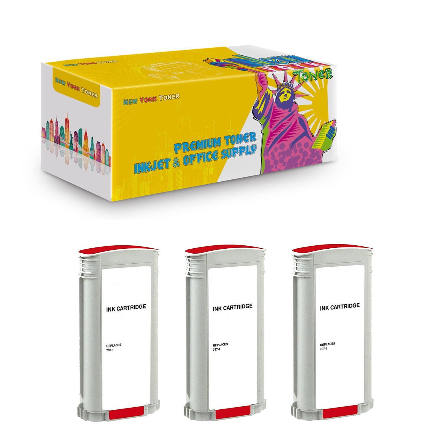 New York TonerTM New Compatible 3 Pack 787-1 High Yield Inkjet For Pitney Bowes - Connect+ 1000, 2000, 3000. -- Red